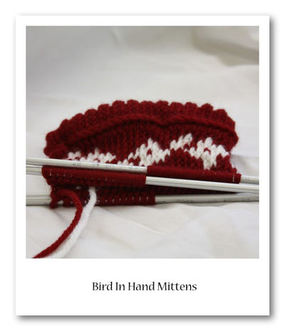 Bird In hand mittens in progress 3